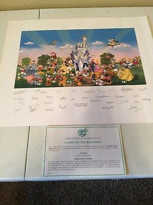 """WDW Disney Lithograph Art Print """" A Party In The Kingdom"""" 2005 Limited Release"""