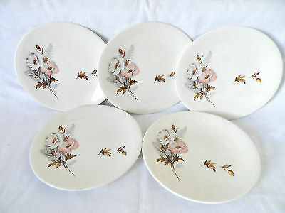 5  Vintage    Semi Oval  Grindley   Tea  Plates  Rose  Design