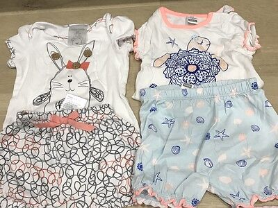Baby Girl Bulk X 2 Outfit Sets Summer 0-3 Mnth & 3-6 Mnth Cute!