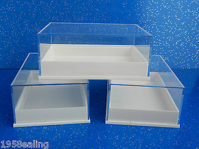 12 Perspex Clear Lid  Specimen Display Boxes Shels Minerals Gems Fossil Geology