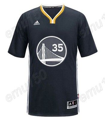 New Golden State Warriors Kevin Durant #35 Black Embroidery Basketball Jerseys