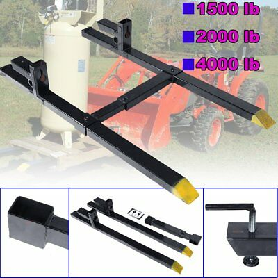 Clamp on Pallet Forks w/ Adjustable Stabilizer Bar 1500lb 2000lb 4000lb Capacity