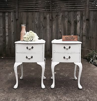 2x PROVINCIAL White Shabby Chic Lamp Side Bedside TABLES Drawers