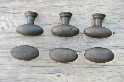 VTG 6pc Victorian Fancy Cast Iron cabinet drawer door Knobs handles pull rustic