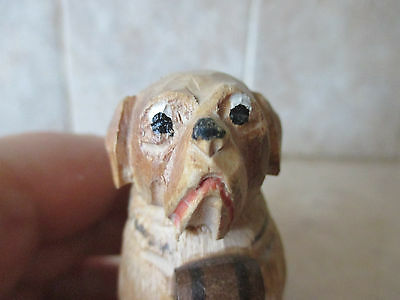 Carved wood Saint St Bernard with barrel, Jobin ?, very square dog, serious face