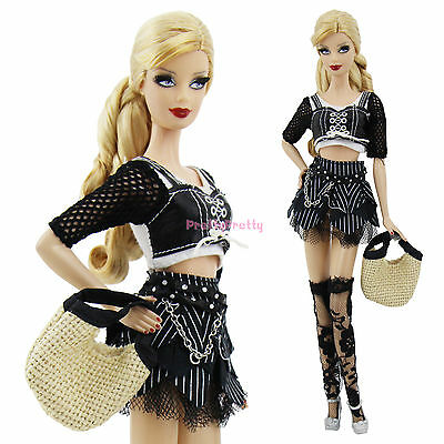 Fashion Lady  Cool Shirt  Stockings  Outfit Dress Clothes For Barbie Doll Gift A