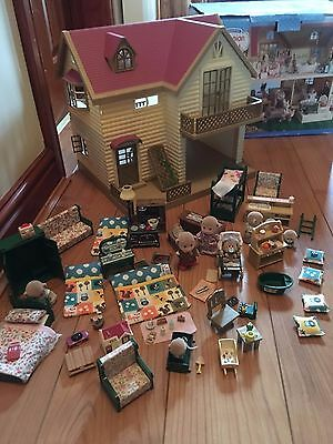 Sylvanian Family Lakeside Lodge + BOX Huge Accessories Darwin Monkey Family LOOK