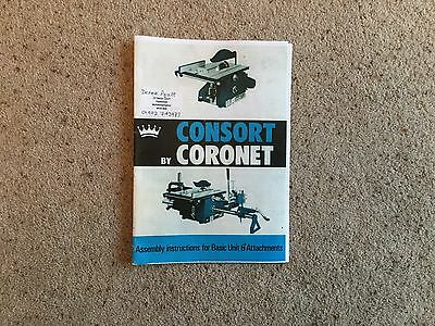 CORONET CONSORT blue model 1977 onwards woodworking machine instruction manual