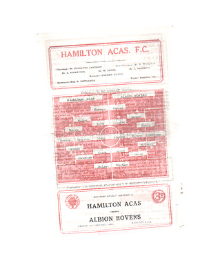 HAMILTON ACADEMICALS V ALBION ROVERS 1st January 1960