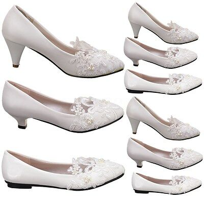 Women White Ivory Lace Wedding Shoes Bridal Bridesmades Flats Low High Heel Pump