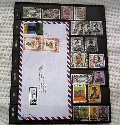 Brunei Used Stamp Selection And Registered Airmail Cover With Values To $2