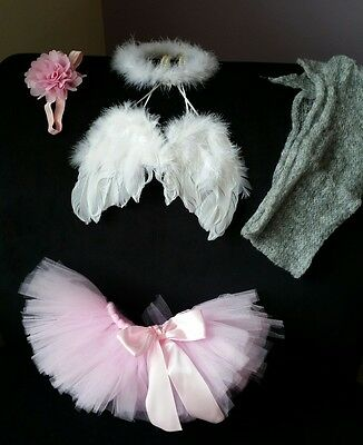 Newborn Photography Props Girl Angel Wings, Halo, Pink Tutu, Pink Headband, Wrap