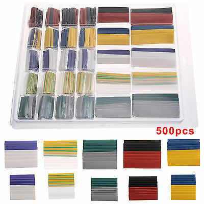500 Hot Shrink Tube Car Electrical Cable Heat Tubing Wrap Sleeve + Box 10 Sizes