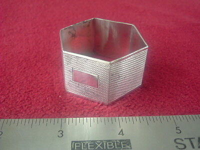 Vintage Hexagonal Solid Silver Napkin ring by Fredrick Field