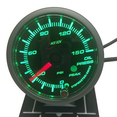 Racetech Oil Pressure Gauge 52mm PSI Audible Alarm GREEN BACKLIT