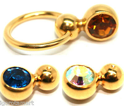 Gold 14G 1.6mm Double Captive Bead Ring BCR Earring Replacement Fit Balls