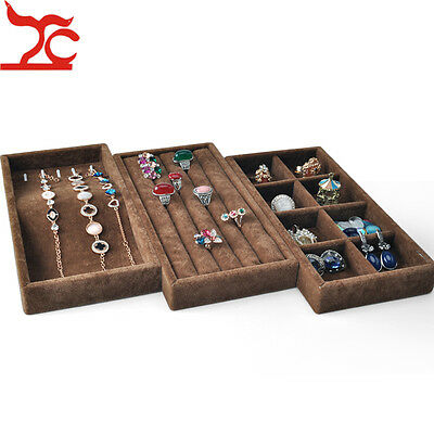 3pcs Velvet Wood Jewelry Display Case Brown Necklace Ring Storage Organizer Tray