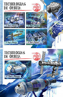 Space Stations Copernicus Sao Tome and Principe MNH stamp set 2 sheets