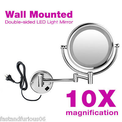 10XMagnification LED Lighted Makeup Cosmetic Mirror Wall Mounted 2 Side Bathroom
