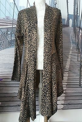 ladies long animal print flowing cardigan size small