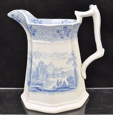 Antique Romantic Staffordshire Blue Transfer Pearlware Pitcher 1850 MINT