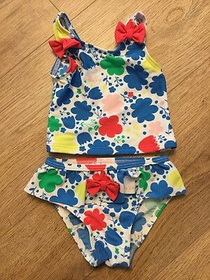 New M&S Baby Girl Summer Swimsuit 2 Piece Bikini Floral 0-3 Holiday Clothes