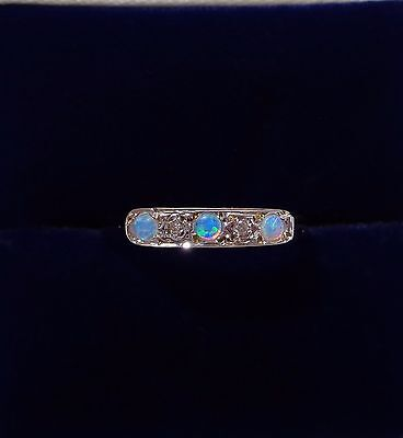 Opal and Diamond Five Stone Ring in 9ct Yellow Gold - Small Size L