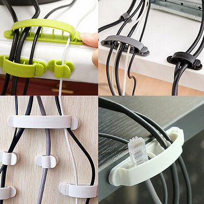 10 Pcs Cord Clips Line Wire USB Charger Cable Tie Holder Desk Tidy Organiser
