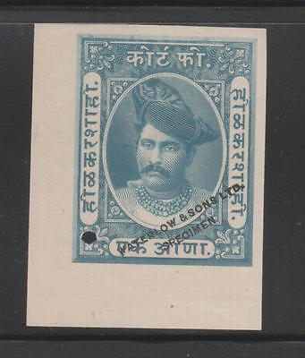 India Indore Holkar State 1An.waterlow & Sons Ltd. Specimen Imperf Stamp.