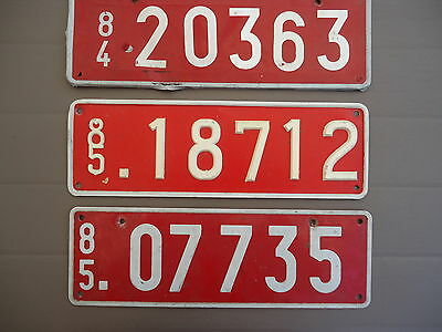one 1984 and two 1985 Transit License Plate from Belgium (the front ones)