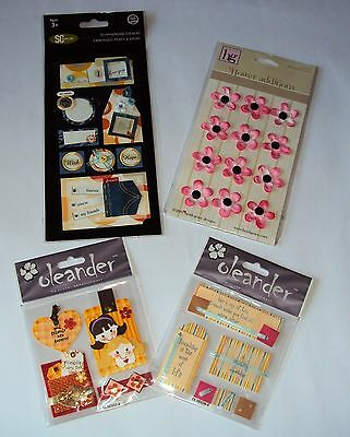 Embellishments / stickers for scrapbooking and craft, 4 packets new and unused