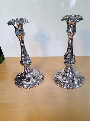 Vintage  Tall  Decorative  Candle Stick Pair Silver Plated Rare And Elegant