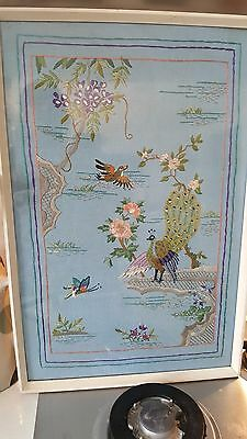 Fabulous vintage 1940s embroidered framed picture peacock birds stunning
