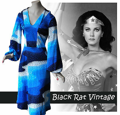 Vintage 1970s Psychedelic Balloon Sleeve Hippy Blue Abstract Print Dress UK12