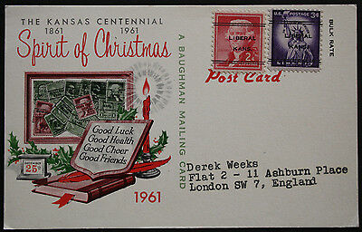 USA 1961 Illustrated Christmas Mailing Card with 2c & 3c LIBERAL KANS Precancels