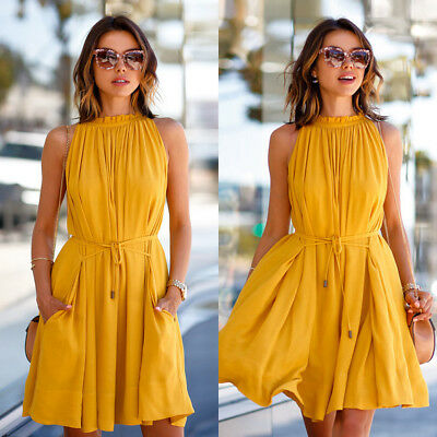 NEW Women Summer Casual Sleeveless Evening Party Cocktail Beach Short Mini Dress
