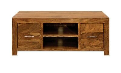 Solid Plasma TV Cabinet Unit Stand Bench in Cube Petit Dark Sheesham RRP £429!!
