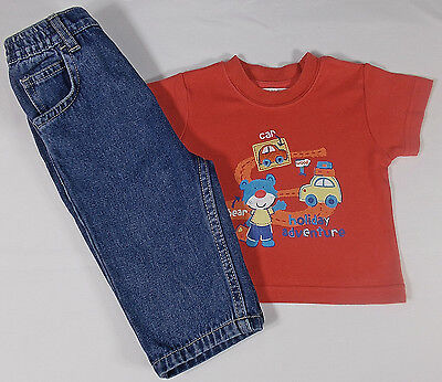 Baby boy jeans trousers t shirt top 3-6 months COTTON bnwots