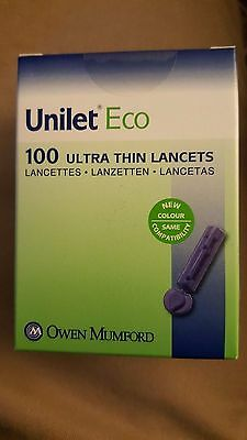 2x Unilet Eco Ultra Thin Lancets Boxes of 100 (200) BRAND NEW & SEALED Exp 2021