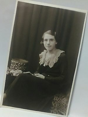 vintage rppc  photo 10s 20s young lady book named may goodhand social history