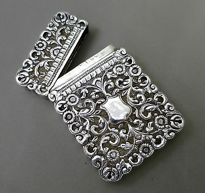 Outstanding Antique Solid Silver Hand Chased  Card Case 104 Grams