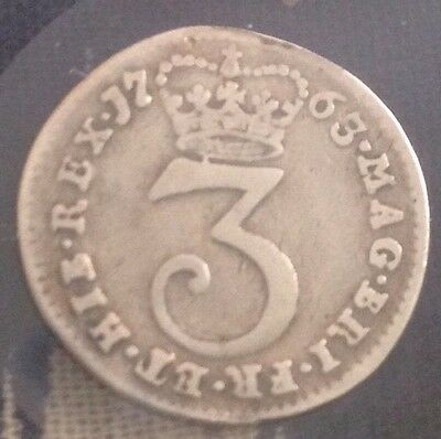 1763 Maundy 3 Pence Coin Gorge III
