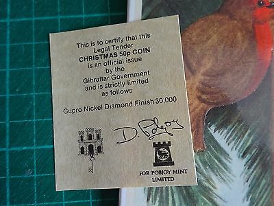 50p GIBRALTAR 2001 Three Wise Men Diamond Finish Christmas Card + Certificate