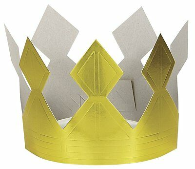Paper Happy Birthday Crown Gold Paper Crown Kids Birthday Fancy Dress Party NEW