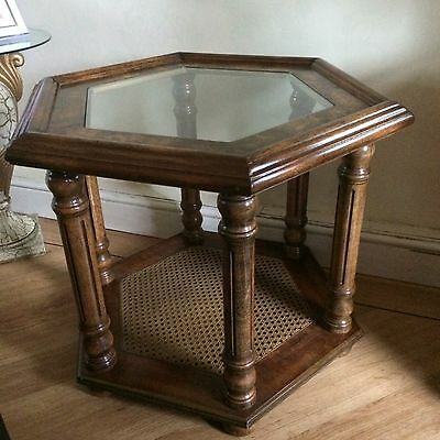 Wood Rattan Side Table With Glass Top