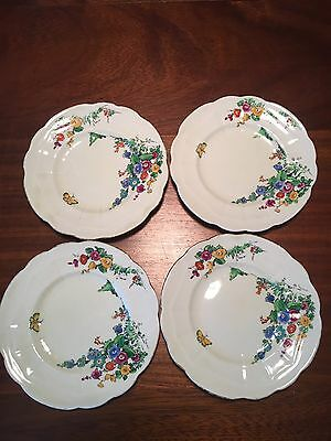 Crown Staffordshire Floral Stocks Cake Plates X4
