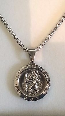 Mens Large Stainless Steel Silver St Christopher Pendant Chain Necklace Gift
