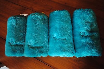 set of 4 Vintage Golf Head Covers ANTIGUA Indian Logo Aqua Blue Fur Fuzzy 1 4 7