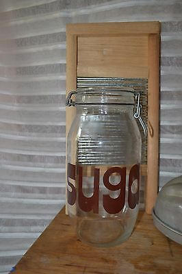 Triomphe Sugar Clear Glass Canister Jar With Clasp 2L Brown Letters Vintage