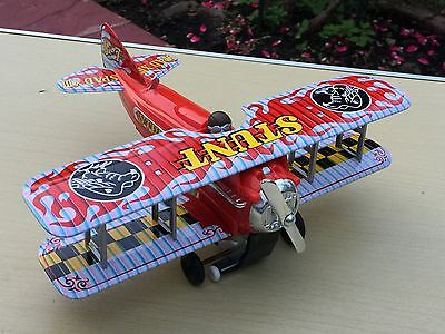 Vintage Japan Tinplate Battery Operated Stunt Plane Boxed